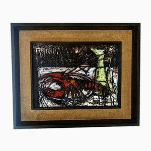 Pintura de vidrio de Bernard Buffet, años 50