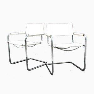 Beistellstühle aus Leder, 1980er, 2er Set