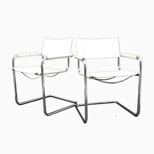 Leather Side Chairs, 1980s, Set of 2