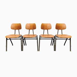 Stapelbare Vintage Esszimmerstühle aus Metall & Sperrholz, 1963, 4er Set