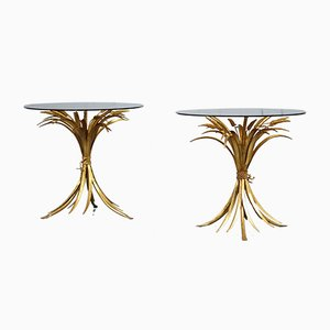 Vintage Hollywood Regency Wheat Side Tables, Set of 2