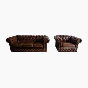 Vintage English 3-Seater Chesterfield Sofa and Armchair Set, 1980s