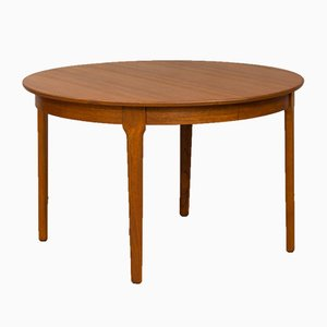Danish Teak Round Extendable Dining Table, 1960s