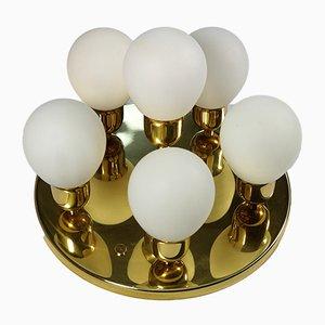 Vintage Brass and Opaline Glass Sputnik Ceiling Lamp from Wortmann & Filz, 1970s