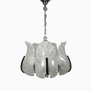 Chrome and Ice Glass Chandelier by Carl Fagerlund for Orrefors, 1970s