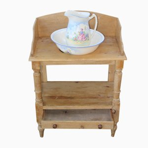 Antique Pine Washstand with Bowl and Jug, 1910s