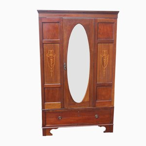 Antique Mahogany Mirrored Wardrobe, 1910s