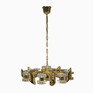 Brutalist Glass and Brass Chandelier in the Style of Orrefors, 1970s
