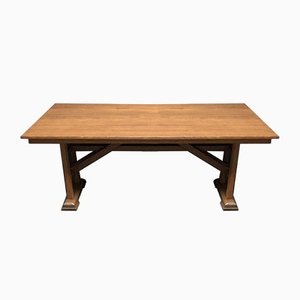 Vintage Arts and Crafts Dutch Oak Monastery Dining Table, 1940s