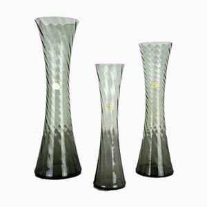 Vases Mid-Century en Verre Cristal Soufflé à la Main de Alfred Taube, Set de 3