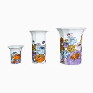 Deutsche Vintage Vasen mit Blumenmotiven von Tapio Wirkkala für Rosenthal, 3er Set