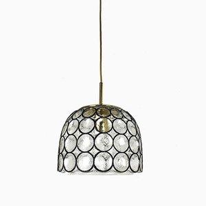 Vintage Deckenlampe mit Lampenschirm aus Eisenringen von Glashütte Limburg