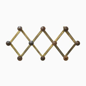 Mid-Century Brass & Wood Coat Rack by Luigi Caccia Dominioni
