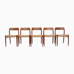 Mid-Century Teak Model 75 Dining Chairs by Niels Otto Møller for J.L. Møllers, Set of 5