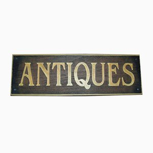 Vintage Antiques Advertisement Sign, 1970s