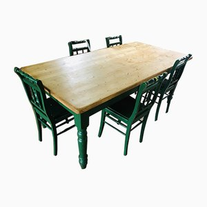 Antique Farm Table and Chairs Set