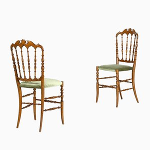 Green Velvet Chiavari Dining Chairs by Colombo Sanguineti, 1950s, Set of 2