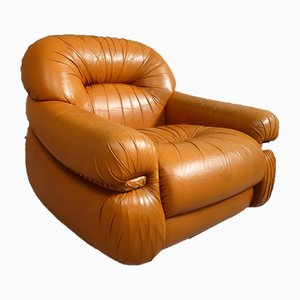 Space Age Leather Lounge Chair, 1970s