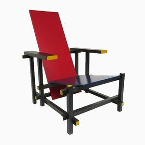 Red and Blue Lounge Chair by Gerrit Rietveld for Cassina, 1970s