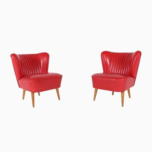 Red Cocktail Chairs, 1950s, Set of 2
