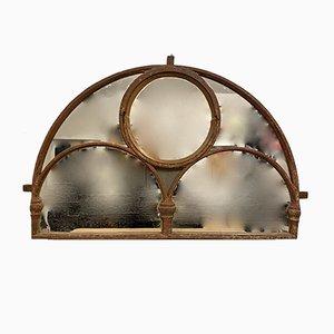 Großes antikes viktorianisches Rundbogenfenster aus Gusseisen mit Spiegelglas