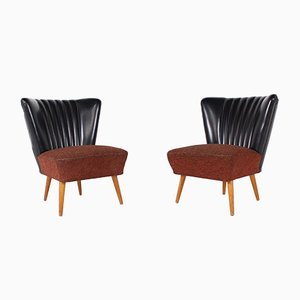 Black Cocktail Chairs, 1950s, Set of 2