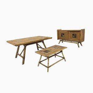 Enfilade, Table et Table Mid-Century en Rotin et Mélamine par Adrien Audoux & Frida Minet, 1950s