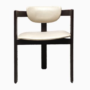 Italian White Faux Leather and Dark Brown Wood Dining Chairs, 1970s, Set of 14