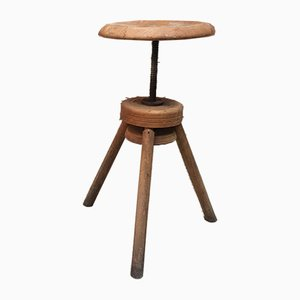 Vintage Italian Wooden Adjustable Stool, 1950s