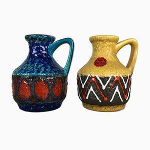 Deutsche Mid-Century Fat Lava Op Art Vasen von Bay Keramik, 2er Set
