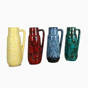 Vintage German Fat Lava Vases from Scheurich, Set of 4