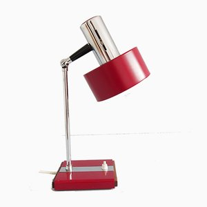 Mid-Century German Red Chrome and Wood Table Lamp, 1960s