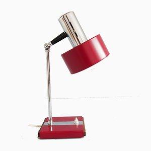 Rote deutsche Mid-Century Tischlampe aus Chrom & Holz, 1960er
