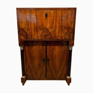 Small Antique Biedermeier Walnut & Ash Secretaire, 1820s