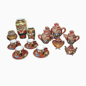 Japanese Porcelain Lithophane Geisha Tea Set from Satsuma, 1960s, Set of 13
