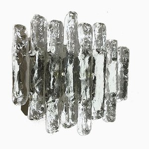 Large Mid-Century Hollywood Regency Ice Glass Wall Light by J. T. Kalmar for Kalmar Franken KG