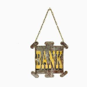 Doppelseitiges antikes Bankschild aus Zink