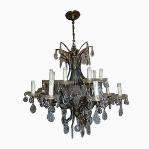 Art Deco Brass and Glass Chandelier, 1940s