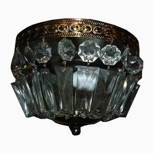 Mid-Century Brass and Crystal Chandelier from Lustrerie Deknudt