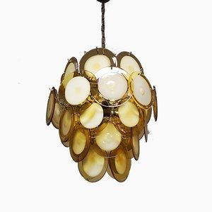 Deckenlampe mit Behang aus bernsteinfarbenem Muranoglas von Gino Vistosi für Vistosi, 1970er