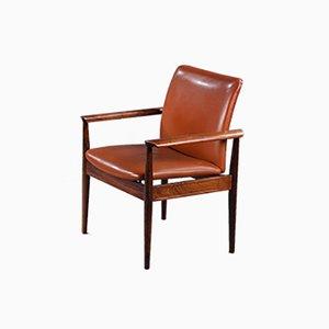 Cognacfarbener Diplomat Chair aus Leder & Palisander von Finn Juhl für France & Søn / France & Daverkosen, 1960er