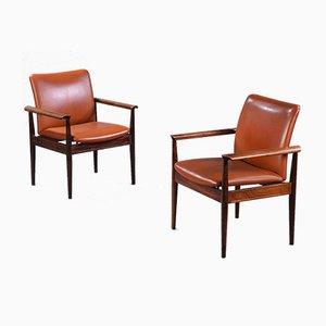 Diplomat Stühle aus cognacfarbenem Leder & Palisander von Finn Juhl für France & Søn / France & Daverkosen, 1960er, 2er Set