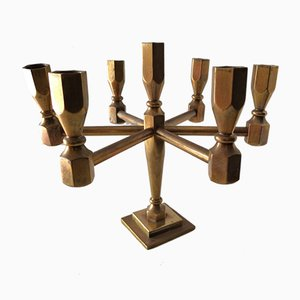 Brass 7-Arm Candleholder by Lars Bergstein for Gusum, 1980s