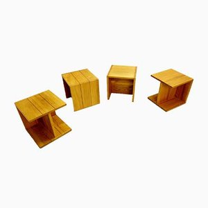 French Solid Elm Cube Coffee Table Roland Haeusler for Regain, 1980s
