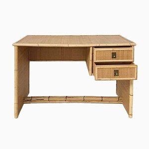 Italienischer Schreibtisch aus Bambus & Rattan von del Vera, 1970er