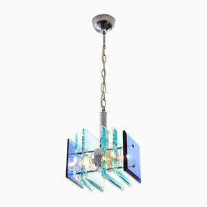 Vintage Italian Glass Ceiling Lamp, 1970s