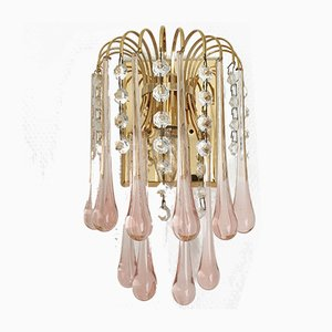 Brass Wall Lights with Murano Glass Teardrops & Crystals from Made Murano Glass, 1970s, Set of 2
