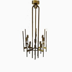 Brass Ceiling Lamp from Stilnovo, 1950s