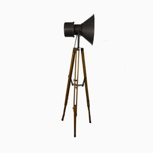Industrial Wooden Tripod Floor Lamp, 1960s