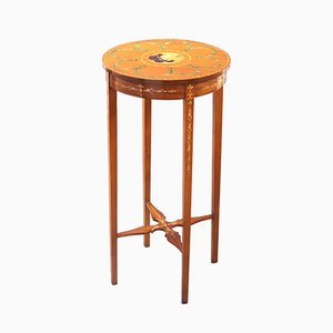 Small Antique Edwardian Polychrome Painted Satinwood Side Table, 1900s